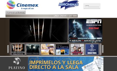 Nuevo sitio web de cinemex